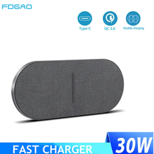2 in 1 30W Dual Seat Qi Wireless Charger for Samsung S21 S20 iPhone 12 11 XS Max XR 8 Plus Airpods Pro Double Fast Charging Pad