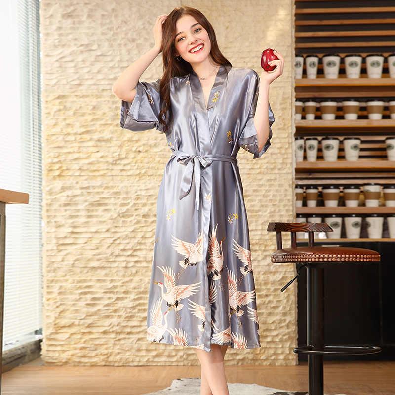 Cựu Ước Bán Mùa Hè Màu Đen Satin Kimono Áo Tắm Nữ Cô Dâu Phù Dâu Cưới Áo Dây Đầm Áo Choàng Gợi Cảm Hoa Dài Đồ Ngủ M-2XL