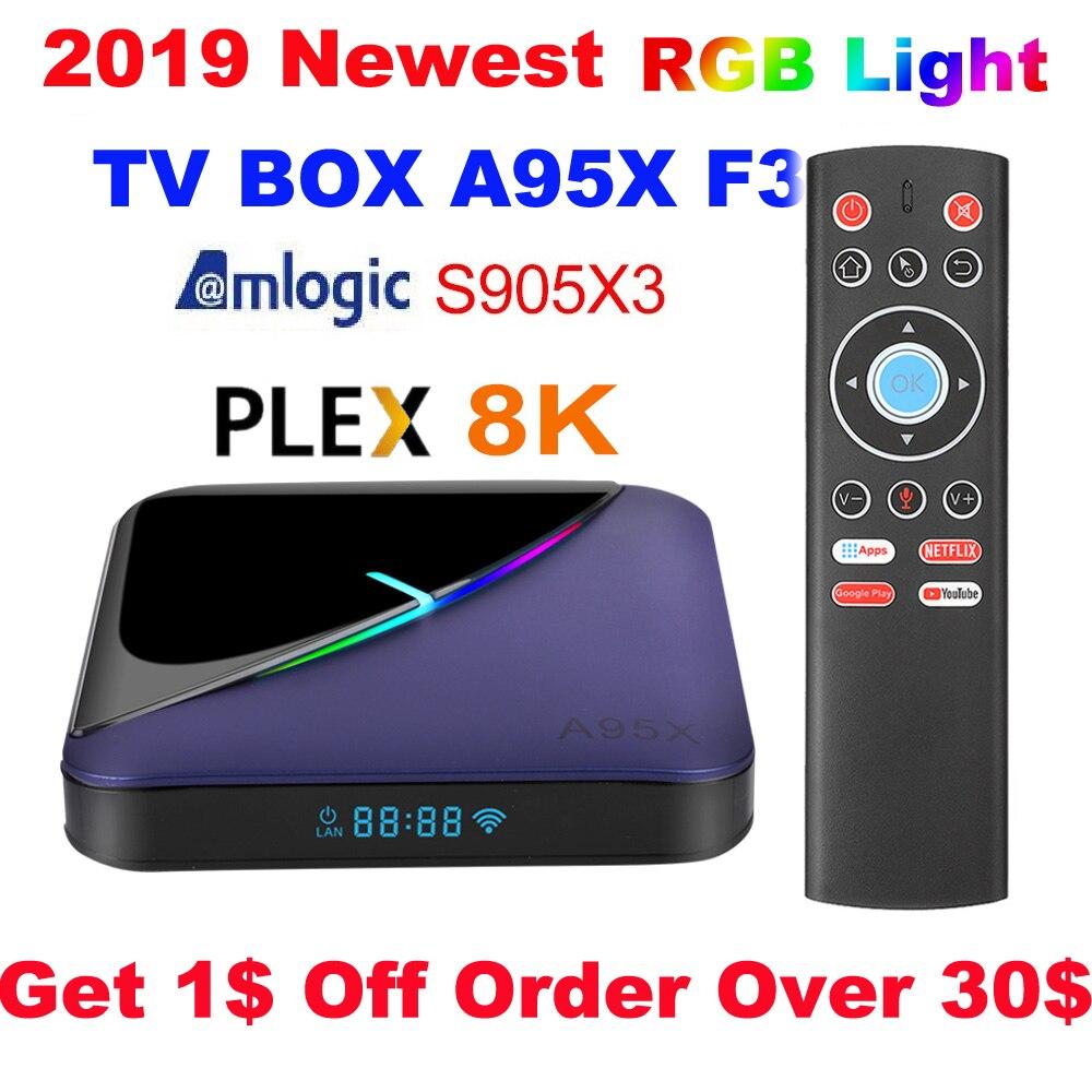 A95X F3 8K RGB Light TV Box Amlogic S905X3 Android 9.0 4GB 64GB Plex Media Server Wifi 4K Netflix Youtube Media Player A95XF3 X3
