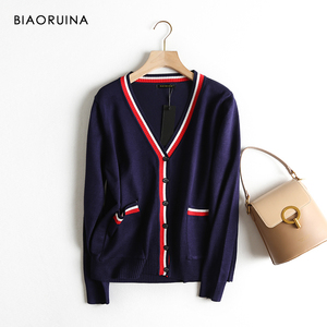 Image 1 - BIAORUINA Womens Preppy Style Hit Color V neck Knitted Cardigans Female Single Breasted Fashion Loose Korean Style Sweater