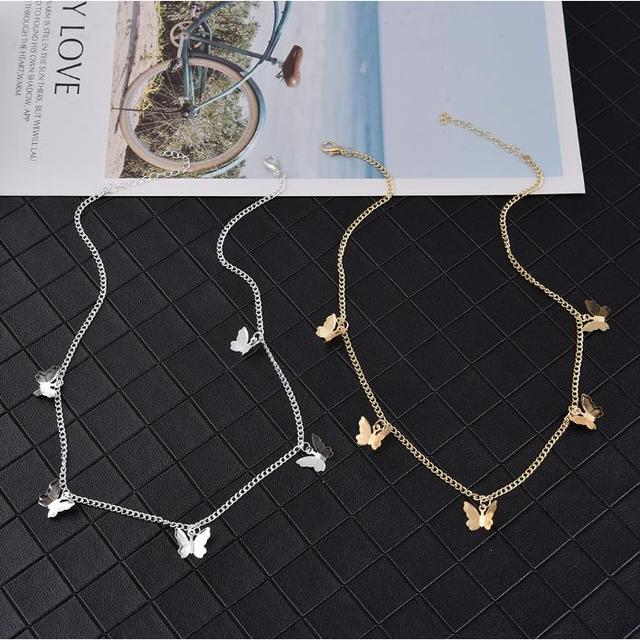 Gold Chain Butterfly Pendant Choker Necklace Women Statement Collares Bohemian Beach Jewelry Gift Collier Cheap 2