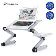 Suporte ergonômico do portátil com 2 fãs de alumínio ventilado lap workstation mesa mouse almofada para casa livro leitura suporte notebook 17''
