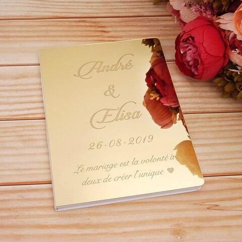 Espelho com Branco em Branco Personalizado Acrílico Guestbook Casamento Assinatura Convidado Livro Evento & Festa Decoração Favor