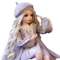 60cm Light Grey Sweater Wedding Dress Vinyl Joint Doll Set With Makeup Wig Hair Fashion Dolls Toy For Girls Children Best Gift