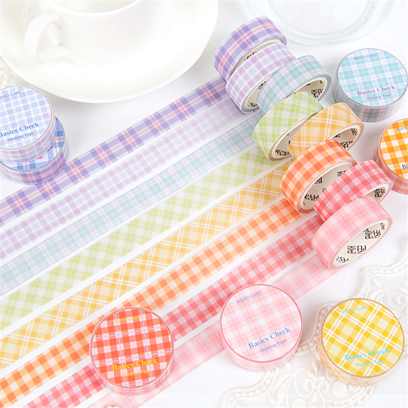 8pcs Basic Check Masking Tape Set Original Sulfate Adhesive Paper Washi Tapes Pink Purple Patchwork Stickers Decoration A6302