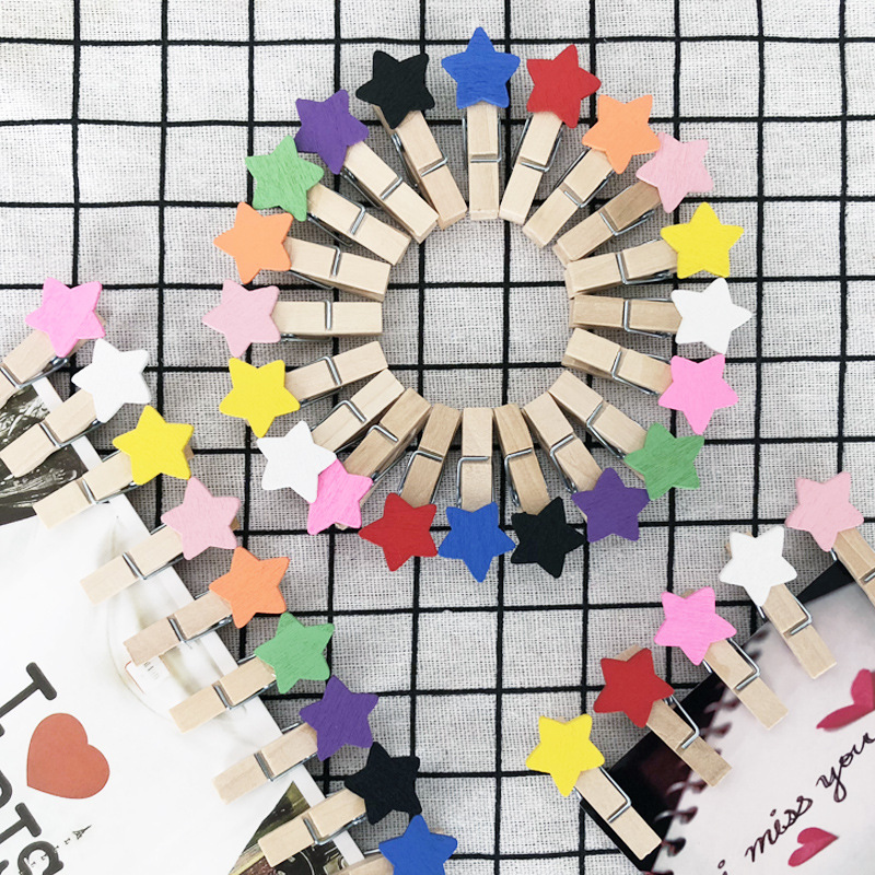 Creative Handmade Wood Five-pointed Star Small Wooden Clip 3.5 Cm Cartoon Message Snacks Picture Portfolio Izable Packagin