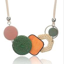 Popular Plant Fibres Women Necklace Handmade Bamboo Weaving Necklaces Adjustable Pendant 3 Colors 1PC