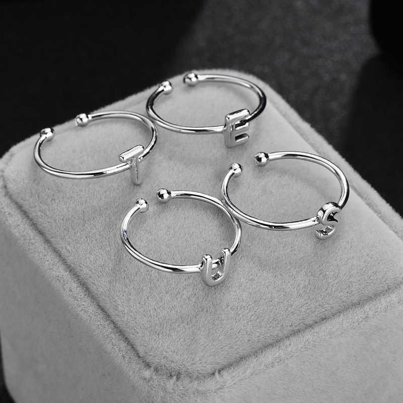 26 ראשוני טבעת Creative קלאסי מלוטש מינימליסטי אישיות גבירותיי גברים של טבעת הנצחה מתנה ראשי תיבות נחושת טבעת