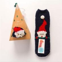 2019 winter Christmas socks 3D Design Fluffy Coral Velvet Thick Warm Socks For Women Towel Floor Sleeping Sox Gift Box