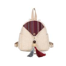 Fashion Mini Backpacks for Women Weave Female Backpack Straw Tassel Small Multifunction Shoulder Bags School