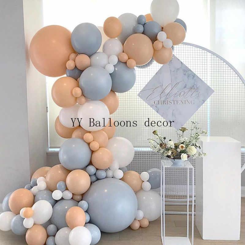 124 adet balon Garland Arch kiti Macaron DIY allık gri şeftali balon süslemeleri düğün doğum günü bebek duş parti malzemeleri