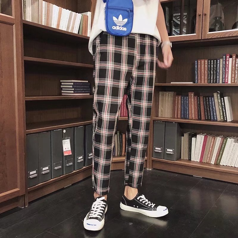 Autumn New Style Plaid Capri Pants Trend Young MEN'S Students Harem Pants Korean-style Cool BF Harajuku-Style Casual Pants