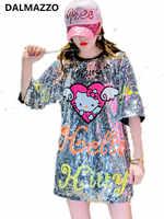 Minivestido recto de manga corta con dibujos animados de Hello Kitty para mujer, los vestidos largos con lentejuelas y estampado de pasarela para mujer 2019
