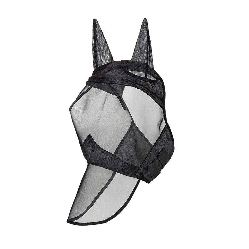 Fly Mask Full Face Horse Mask Fine Mesh Uv Protection With Ears Equine Long Nose Breathable Black