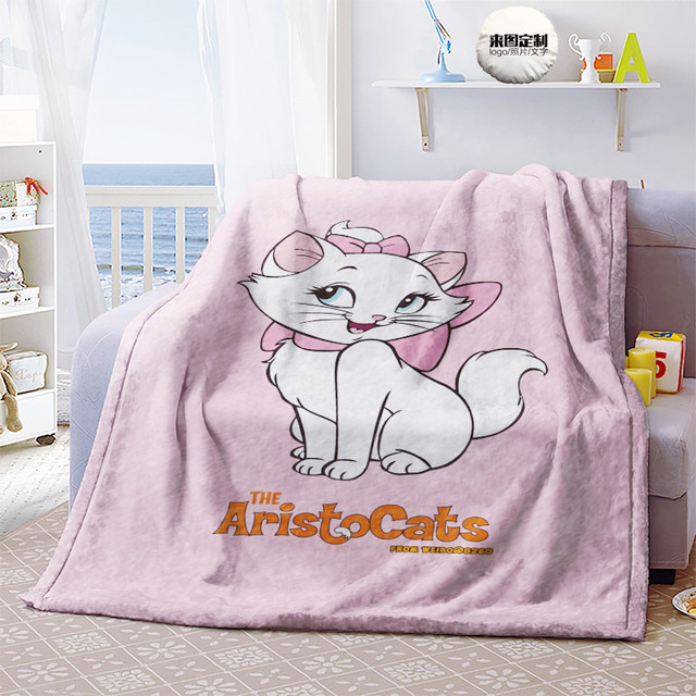 Disney Marie Cat Anime Figures Cartoon Product Cosplay Accessories Customized Blanket Warm Home Bed Unisex Gifts 3