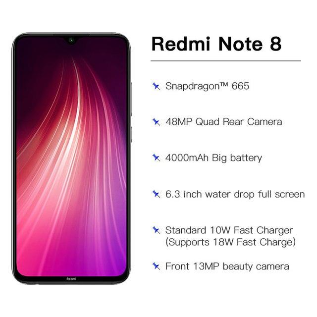 "Global Version Xiaomi Redmi Note 8 4GB 64GB / 4GB 128GB Snapdragon 665 Octa Core Smartphone 6.3"" 48MP Quad Rear Camera"