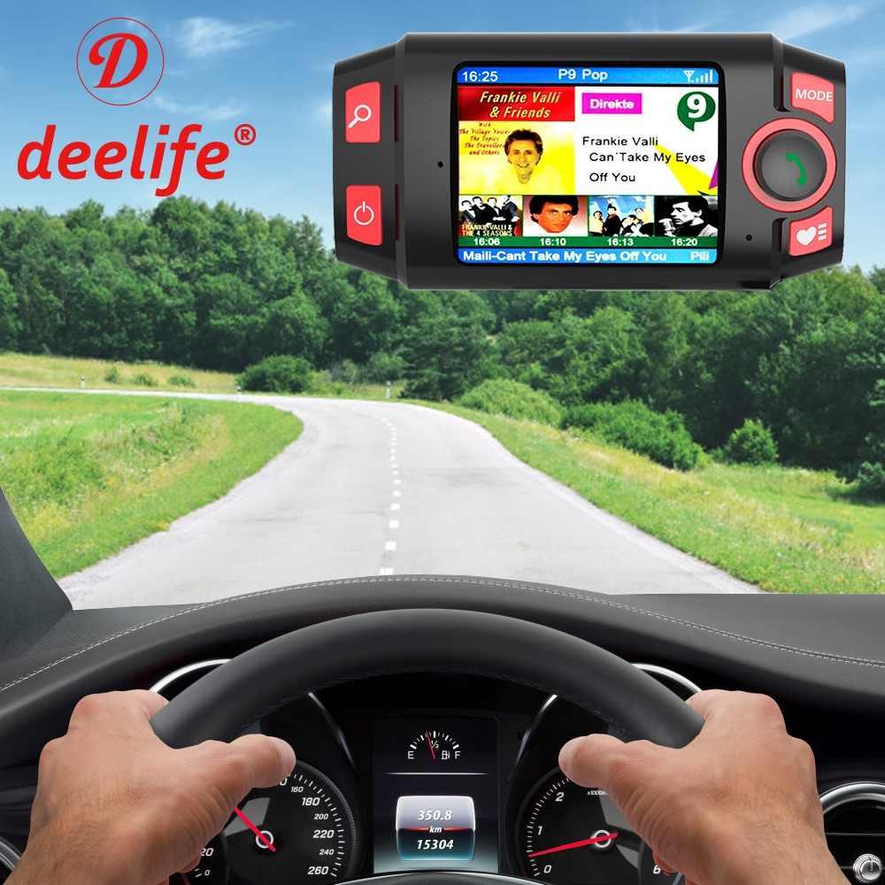 Deelife DAB DAB + Sintonizzatore Radio Auto Digital Audio Broadcasting Ricevitore con Adattatore AUX Trasmettitore FM Kit Vivavoce Per Auto Bluetooth