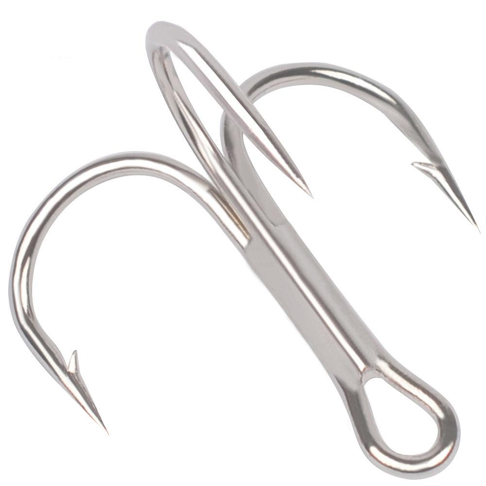 50pcs/ Set Treble Fishing Hooks Carbon Steel Barbed Fishhooks Super Sharp Triple Hooks Sea Tackle Accessories