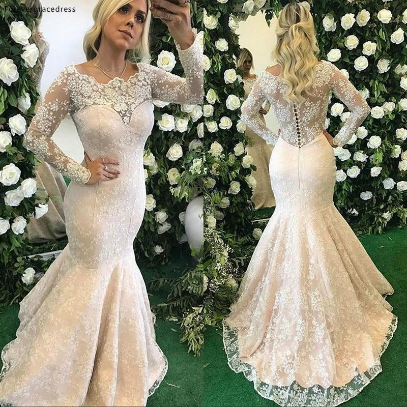 Mermaid Lace Wedding Dress Vintage Illusion Long Sleeves Bridal Gown Plus Size Custom Made