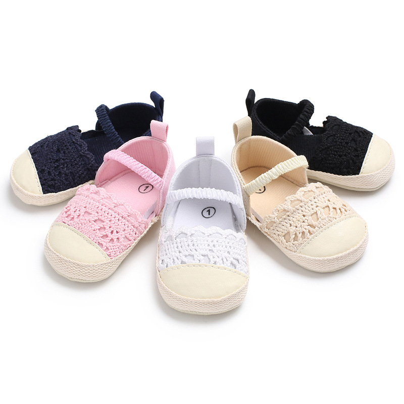 Toddler Shoes Non-Slip Autumn And Spring 0-1 Stitching Elastic Female Solid-Color Hollow