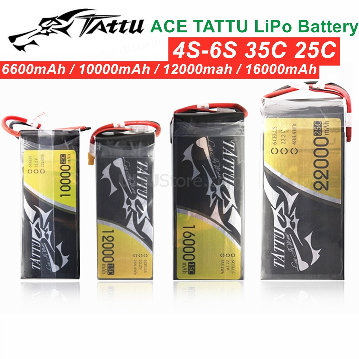 ACE TATTU <font><b>LiPo</b></font> Battery 4S-6S 35C 25C 6600mAh 10000mAh <font><b>12000mah</b></font> 16000mAh Plus 15C 25C 22.2V Lithium RC Battery for UAV Airplane image