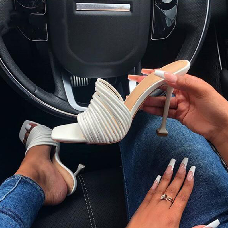 Summer Women Slippers High Heels Shoes Woman Heels Sandals Female Mule Square Toe Slides Sexy Party 2020 Ladies Rome Shoes