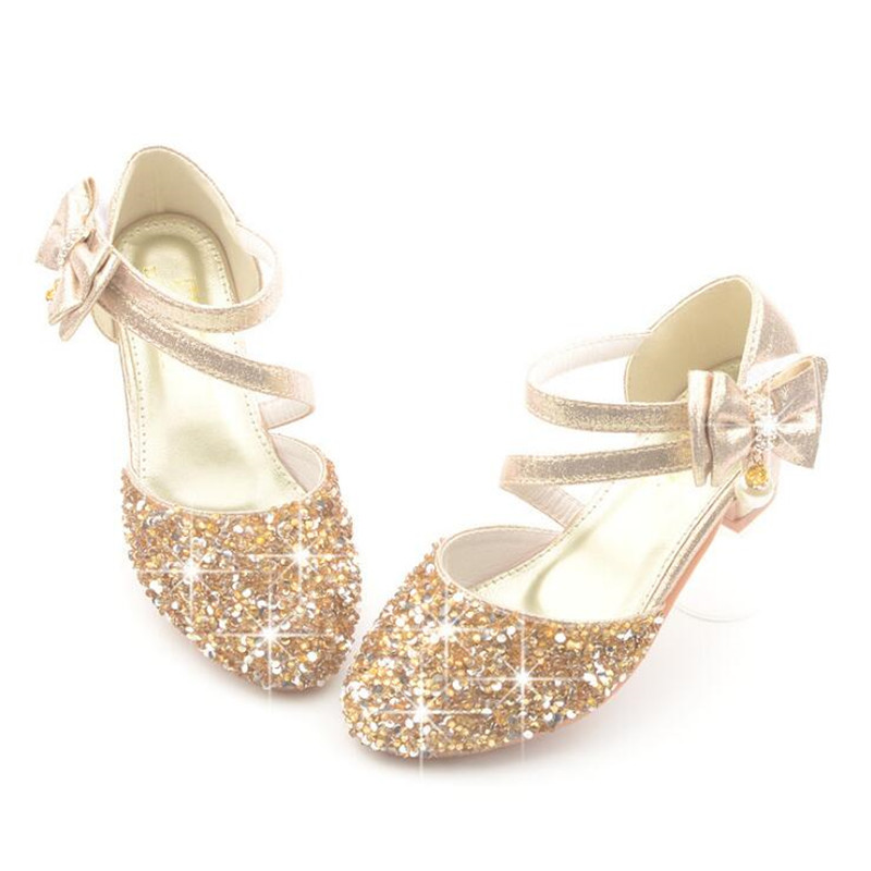 2019 Children Sandals Girl High Heels Princess Shoes For Girls Glitter Bowtie High Heel Sandals Dress Party Shoe Size 26-38