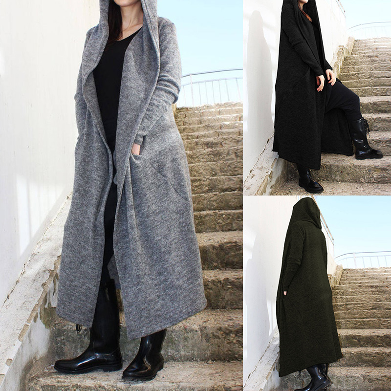 Fashion Asymmetrical Coats Women's Trench 2019 ZANZEA Casual Maxi Parkas Female Solid Open Stich Hooded Outercoats Plus Size Top
