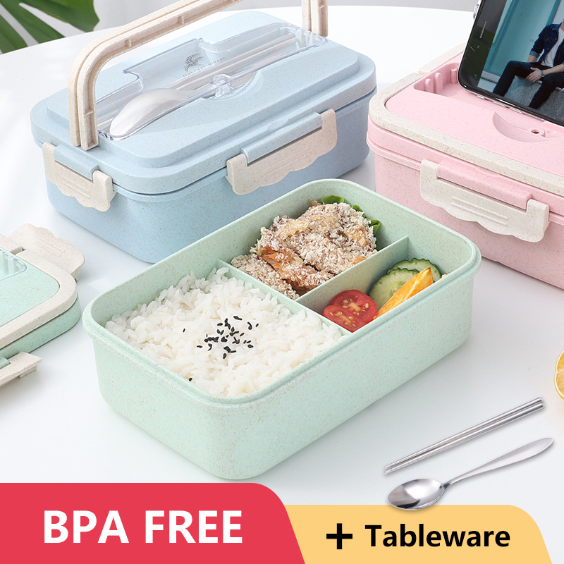 BPA Free Portable Lunch Box Eco-friendly Wheat Straw Portable Microwaveble Bento Box Food Storage Container For Children Student