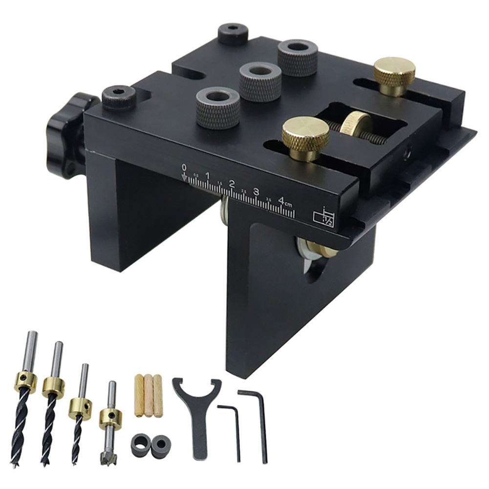 Купить с кэшбэком 3 in 1 Woodworking Doweling Jig Kit with Positioning Clip Adjustable Drilling Guide Puncher Locator Carpentry Tools