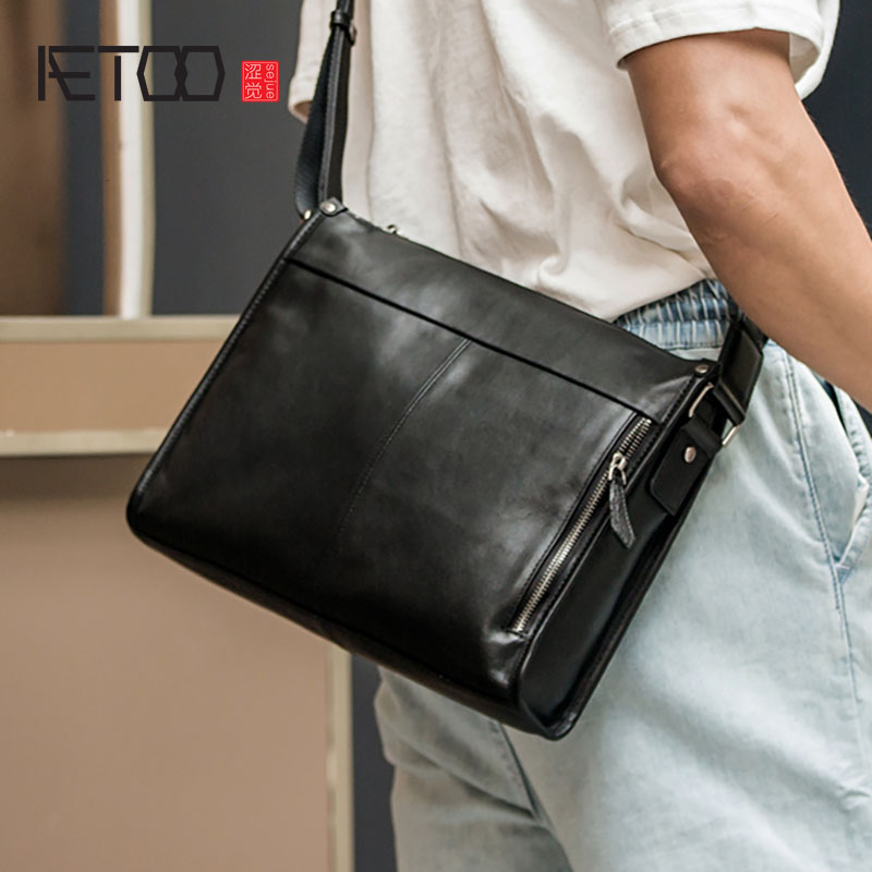 AETOO Leather business men's one-shoulder bag, head leather casual stiletto bag, high-capacity computer bag