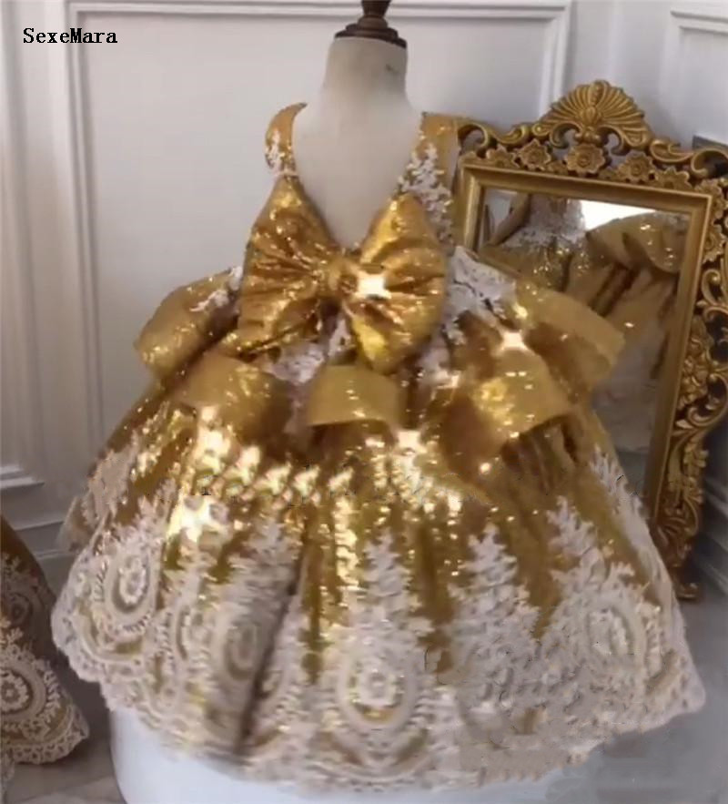 Gold Sequins Baby Girls First Birthday Dress With White Lace Applique Bow Kds Clothes For Party Prom Pageant Dress
