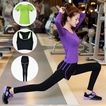 Women's Yoga Set New Autumn Winter Three-piece Set  Modal Workout Clothes Fake 2 Sports Running Suit Dance Practice Clothing Hot aerobic dance workout 2 cd