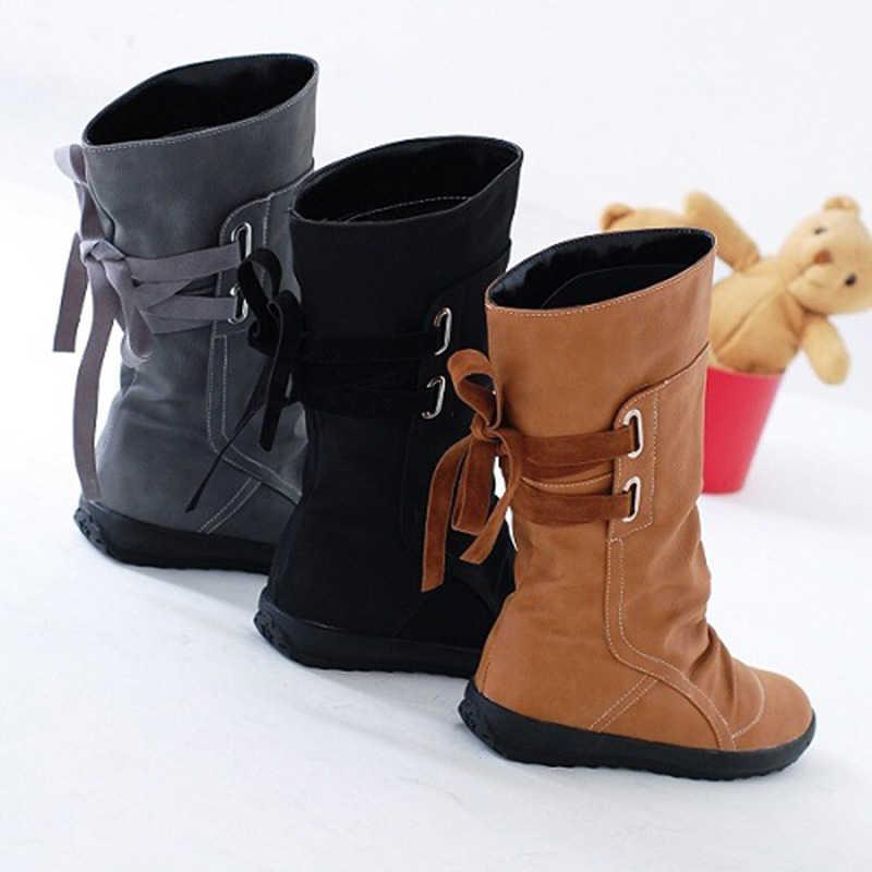 PLUS ขนาดผู้หญิงหิมะรองเท้าบูทแฟชั่นหัวเข็มขัดแบนกลางลูกวัว Martin BOOTS หญิงสีดำ Lace Up หนังฤดูหนาวรองเท้าผู้หญิง T49