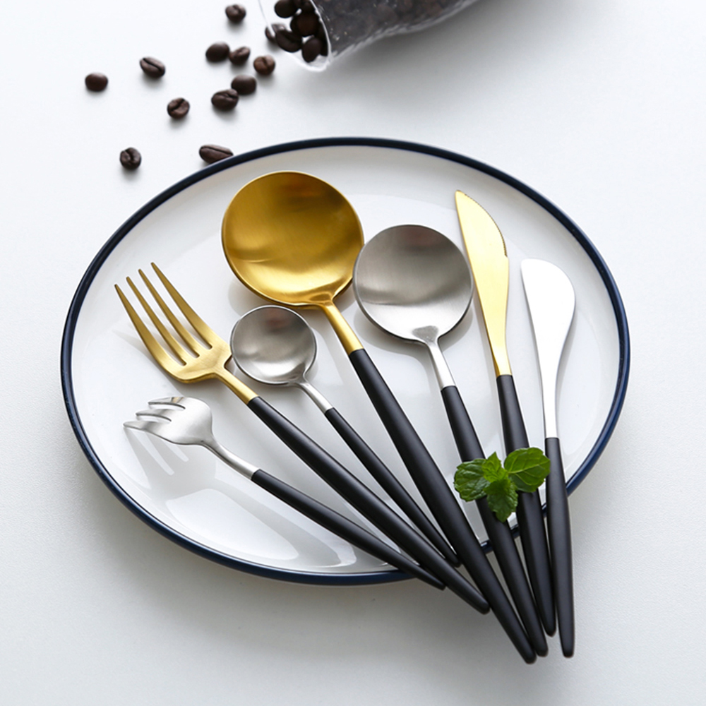 Hot Sale Black Gold Stainless Steel Cutlery Set Cultery Box Dinner Tableware Silverware Fork Spoon Knife Sets Stolovye Pribory Dinnerware Sets Aliexpress