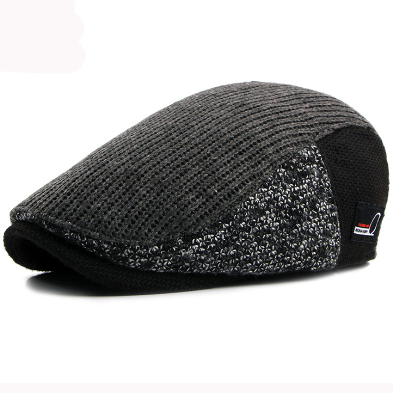 Men Vintage Striped Beret Knitted Berets Flat Cap Dad Hat Men Khaki Beret Men Warm Hats