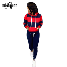 Wishyear Women Casual Tracksuit Fashion Casual Two Piece Set Drawstring Long Sleeve Pullover Hoodie Sweatshirt+ Fitness Pants long sleeve two tone pullover hoodie