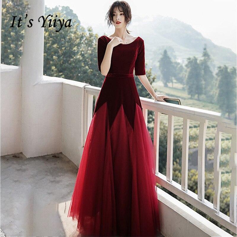 It's Yiiya Evening Dresses For Women Elegant Velour Evening Dress O-neck Formal Gowns Half Sleeve Zipper Robe De Soiree LF115