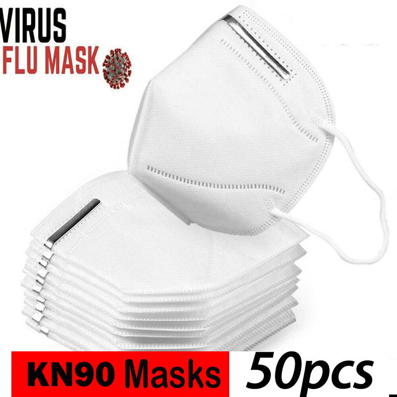 KN90 Hot Sale 50pcs 3-Ply Face Mouth Masks Anti Influenza PM 2.5  Non Woven Disposable Elastic Mouth Soft Breathable Face Mask