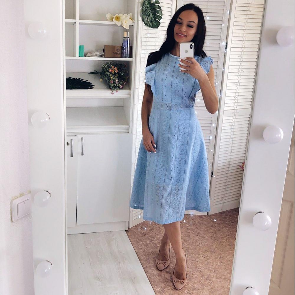 VITIANA Women Office Casual Maxi Long Midi A-Line Dress Female 2018 Summer White Blue Solid Lace Sleeveless Elegant Party Dress