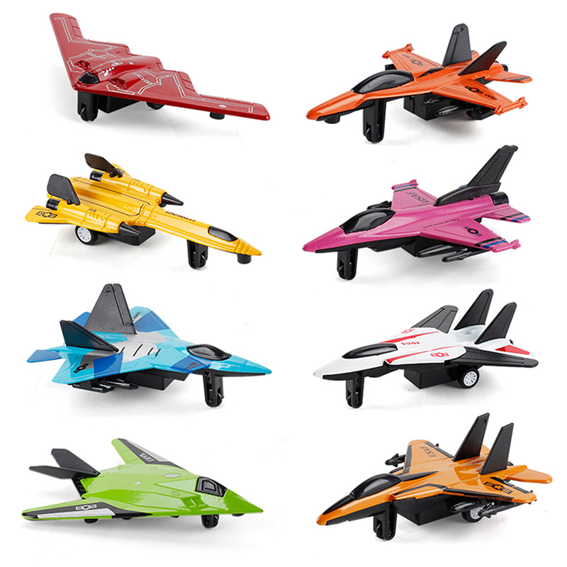 Diecast Mini Alloy Pull Back Aircraft Military Fighter Jet Simulation Model Airplane Kids Toys Gifts For Children Boys image