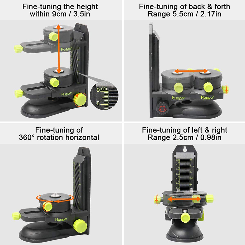 Tools : Huepar Fine-tuning Bracket Laser Level Adapter Multifunctional Magnetic Pivoting Base with Adjustable Clip 360     Adjustable Tool