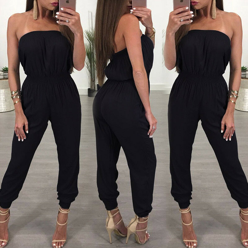 Women's Strapless Black Solid Spandex Off-the-shoulder Jumpsuit Clubwear Playsuit Bodycon Party Romper Trouser Female Jumpsuit