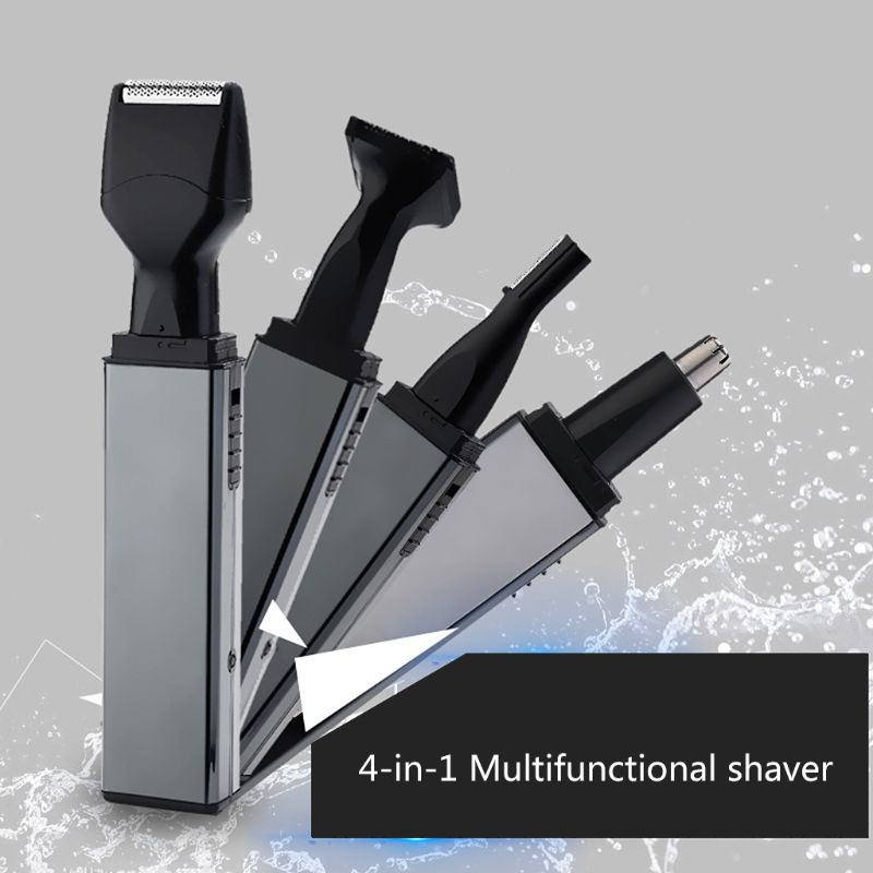 1 Set 4 In 1 Electric Nose Hair Trimmer Rechargeable Razor Ear Eyebrows Scraping Repair Tool Set