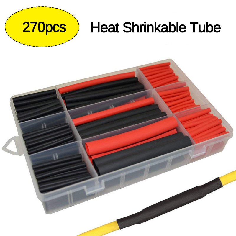 270 Pcs 3:1 Heat Shrink Tubing Insulation Shrinkable Tubes Electrical Wire Cable Wrap Assortment Electric Insulation Sleeve Kit