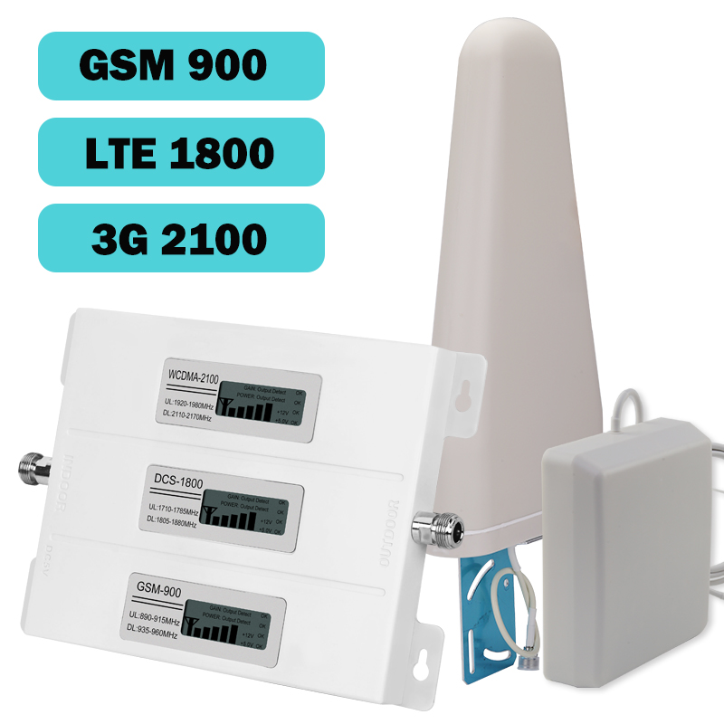 New Europe 2G 3G 4G Tri Band Cell Phone Signal Booster 75dB GSM Repeater 3G WCDMA UMTS 2100 4G LTE 1800 Amplifier Set For Home