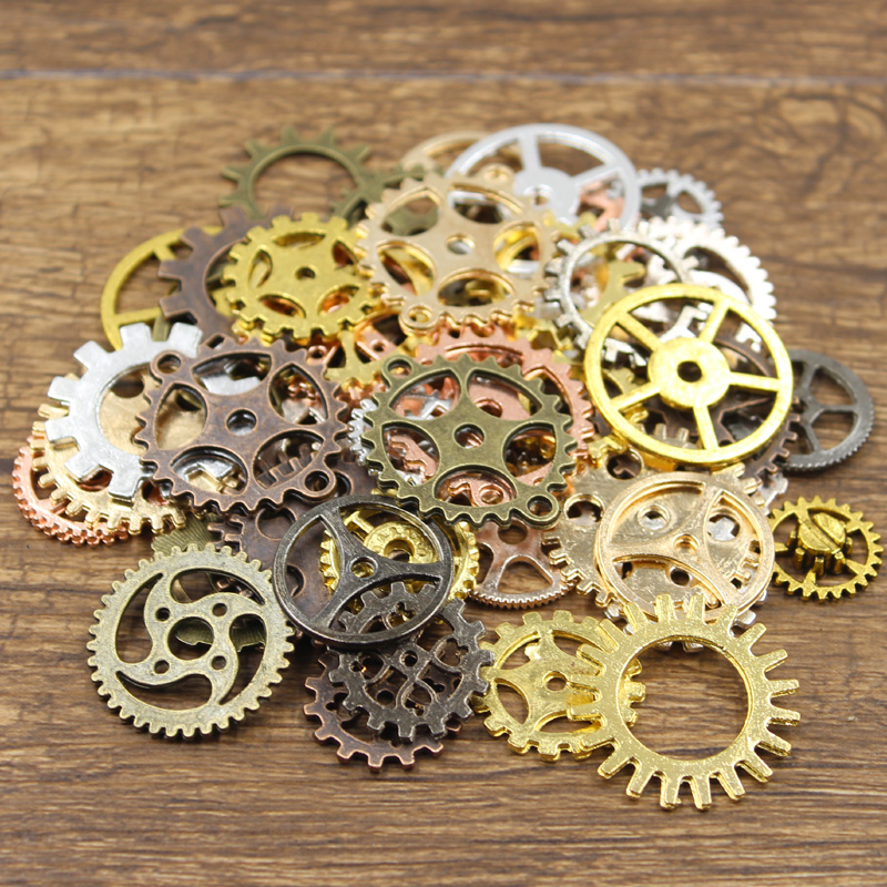 20PCS 9Color Mixed Bronze Gold Silver Color Mechanical Steampunk Cogs Gears Pendants Making DIY Handmade Tibetan Finding Jewelry