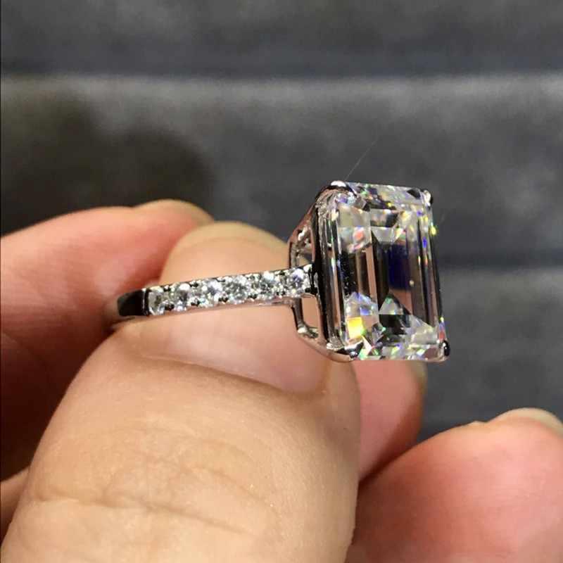 Mewah 100% 925 Sterling Silver Dibuat Emerald cut 4ct Diamond Pertunangan Pernikahan Cocktail Wanita Moissanite Cincin Perhiasan