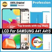100% original 6.1 amamamoled display para samsung galaxy a41 SM-A415F a415 peças de reparo da tela toque lcd completo + pacote serviço