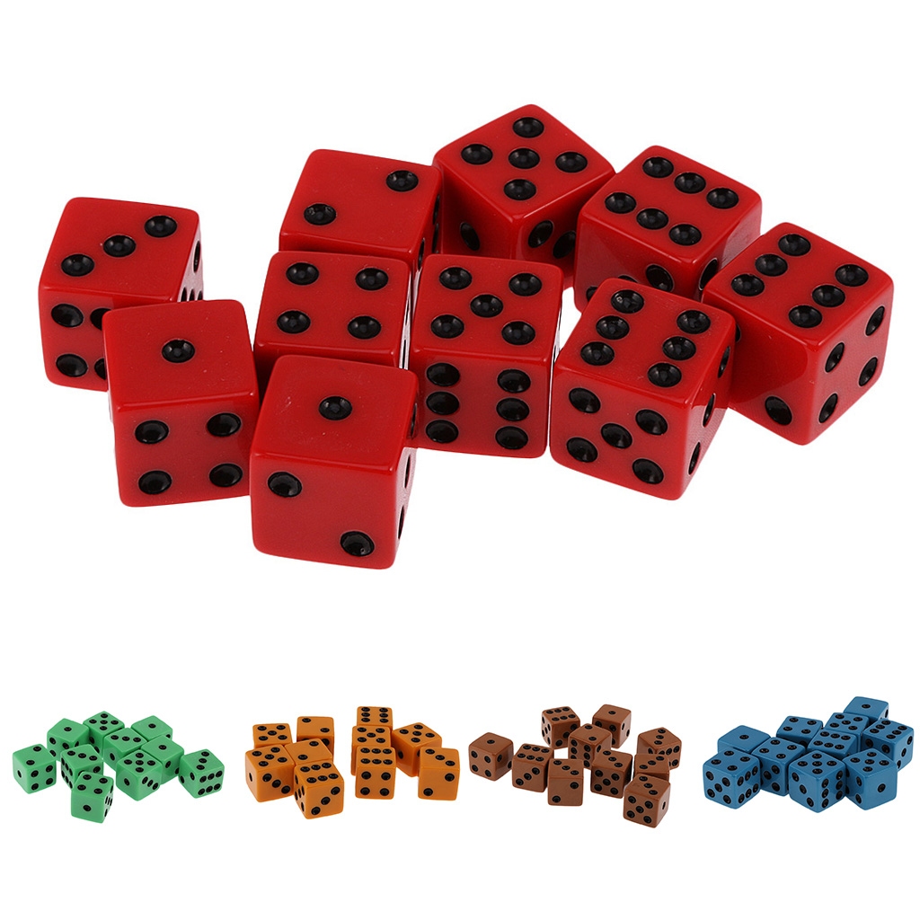 Pack of 10pcs 18mm Six Sided D6 Spot Dice for D&D TRPG Party Game Toy